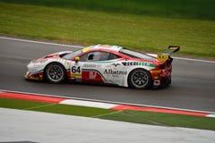 EuropéLe Mans serie Ferrari F458 Italia GT3 på Imola Royaltyfri Foto