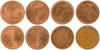 Europén 1 cent mynt beklär och isolerade tillbaka på den vita backgroen Royaltyfri Foto