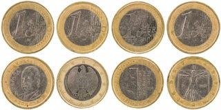 Europén 1 euro mynt beklär och isolerade tillbaka på den vita backgroen Royaltyfria Bilder