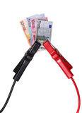 Europévaluta i hopp-start kablar Arkivbilder