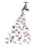 Europévaluta som flödar ut ur vattenkran arkivbilder