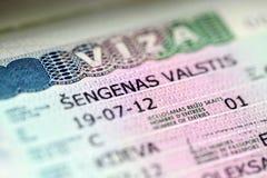 Europ Entry Visa. Close Up - Stock Image stock image