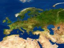 Europę mapy widok ziemi Zdjęcia Stock
