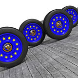 Europ racing. 3d of classica car wheel european flag colors vector illustration