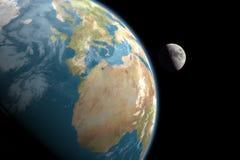 Europa, África e lua, nenhumas estrelas Fotografia de Stock