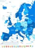Europa - ícones do mapa e da navegação - ilustração Foto de Stock