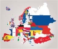 Europa översikt cominated med flaggor Arkivfoton