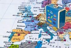 Europa översikt och loppfall med klistermärkear mina foto royaltyfria bilder