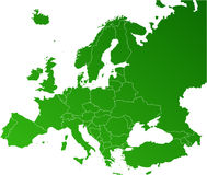 Europa översiktsvektor Royaltyfria Bilder