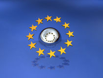 Europa über einer Kugel Stockbild
