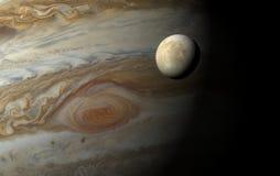 Europa 3D sobre Júpiter con el ojo rojo Imagen de archivo libre de regalías