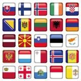 Europa abotoa bandeiras quadradas Fotografia de Stock