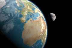 Europa, Afrika und Mond, keine Sterne Stockfotografie