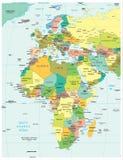 Europa & Afryka regionu podziałów polityczna mapa Zdjęcia Stock