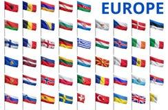 Europa - alla landsflaggor Arkivfoton