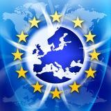 Europa-Anschluss-Markierungsfahne und Sterne Lizenzfreies Stockfoto