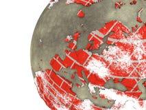 Europa auf Backsteinmauer Erde Stockfotografie