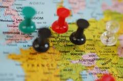 Europa auf Karte Lizenzfreie Stockfotografie