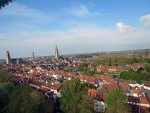 Europa, Bélgica, Flandes Occidental, Brujas, parte central de la ciudad, opinión del ojo de pájaro fotos de archivo libres de regalías