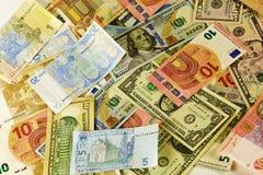 Europa-Bargeld-Bezeichnungen, Amerika und Ukraine Lizenzfreies Stockbild