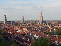 Europa, België, West-Vlaanderen, Brugge, mening van het historische centrum van een grote hoogte royalty-vrije stock fotografie