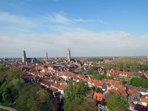 Europa, België, West-Vlaanderen, Brugge, vogelperspectief van het historische centrum royalty-vrije stock afbeelding