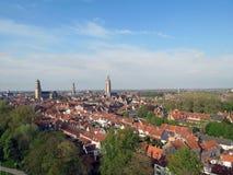 Europa Belgien, västra Flanders, Bruges, fågels sikt för öga av den historiska mitten royaltyfri bild