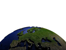 Europa bij nacht op model van Aarde met in reliëf gemaakt land Royalty-vrije Stock Foto