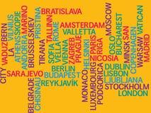 Europa, capitales de países y de otras palabras de las ciudades se nubla el fondo stock de ilustración