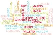 Europa, capitales de países y de otras palabras de las ciudades se nubla el fondo ilustración del vector