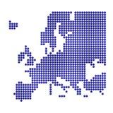 Europa com pontos azuis e euro- sinal Fotos de Stock Royalty Free