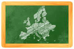 Europa con i paesi attinti una lavagna fotografia stock