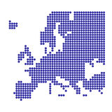 Europa con los puntos azules y la muestra euro Fotos de archivo libres de regalías