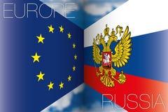 Europa contro le bandiere della Russia Fotografia Stock Libera da Diritti