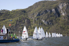 Europa cup lugano 2012. Departure of the regatta europa cup lugano 2012 Royalty Free Stock Images