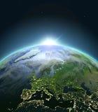 Europa da spazio durante l'alba illustrazione di stock