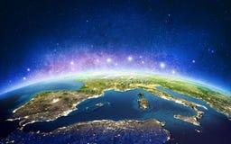 Europa dalle stelle della galassia dello spazio rappresentazione 3d illustrazione di stock