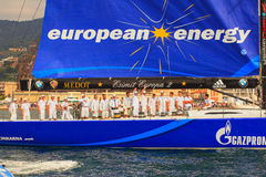 Europa 2 de Esimit o vencedor da regata de 46° Barcolana, Triest Imagens de Stock