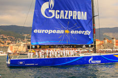 Europa 2 de Esimit o vencedor da regata de 46° Barcolana, Triest Fotos de Stock Royalty Free