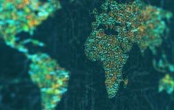 Europa e l'Africa a fuoco Immagini Stock