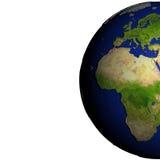 Europa en Afrika op model van Aarde met in reliëf gemaakt land Stock Afbeeldingen