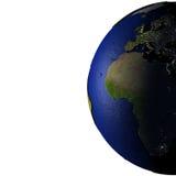 Europa en Afrika op model van Aarde met in reliëf gemaakt land Royalty-vrije Stock Foto