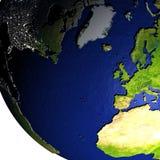 Europa en Noord-Amerika op model van Aarde met in reliëf gemaakt land Royalty-vrije Stock Foto