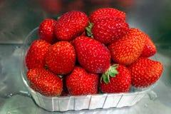 Europa, Espanha, Barcelona Bandeja plástica clara com as morangos recentemente escolhidas no mercado foto de stock royalty free
