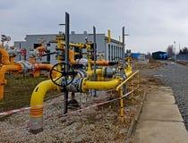 europa Estação de Gaz em Pologne outono 2017 Tecnologias da engenharia Sistema de distribuição do gás Transporte do recurso natur fotos de stock royalty free