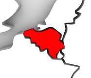 Europa för land för Belgien översikt 3d illustrerad abstrakt kontinent stock illustrationer