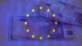Europa-Flagge mit den Eurobanknoten, die heraus durchgebrannt werden stock video