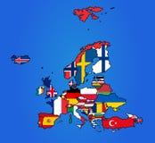 Europa-Flaggen-Karte Stockbild