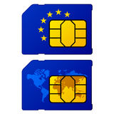 Europa-Flaggenweltkartesim-karte Stockfotografie