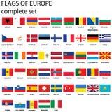 Europa flaggor Royaltyfri Foto